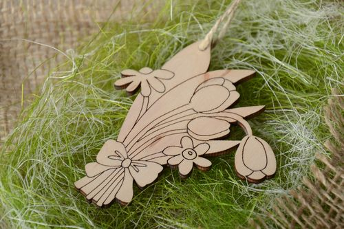 Handmade plywood blank interior pendant magnet Bouquet of Flowers - MADEheart.com