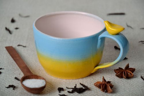 Cup of yellow and blue colors - MADEheart.com