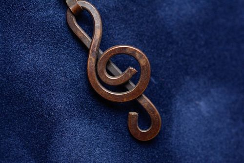 Handmade trendy copper pendant Treble Clef beautiful small designer accessory - MADEheart.com