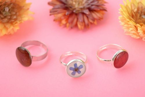 Set of 3 handmade designer jewelry rings with metal basis and epoxy resin - MADEheart.com