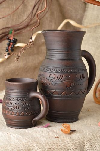 Beautiful brown drinkware set 2 pieces handmade ceramic cup and jug 2.2 l - MADEheart.com