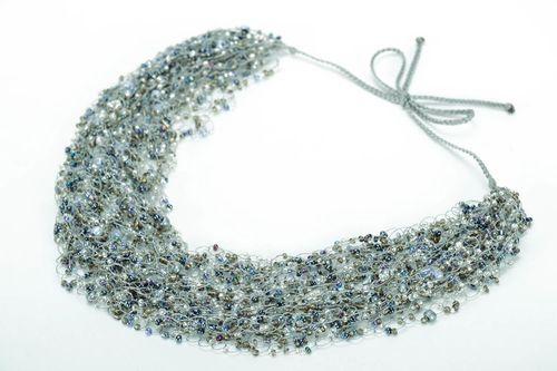 Gray necklace made of beads  - MADEheart.com