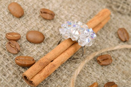 Handmade light blue nacre womens ring with beads of adjustable size - MADEheart.com