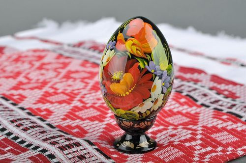 Decorative egg with a holder Bird in flowers - MADEheart.com