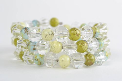 Gentle bracelet with a transparent acrylic beads in three rows handmade jewelry - MADEheart.com