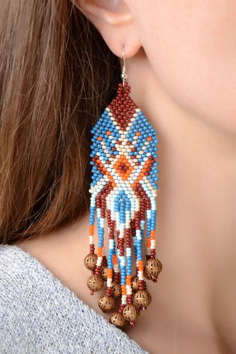Large handmade designer long earrings with beaded fringe and ornament in ethnic style - MADEheart.com