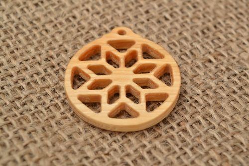 Slavonic handmade round amulet pendant made of wood with open-work - MADEheart.com