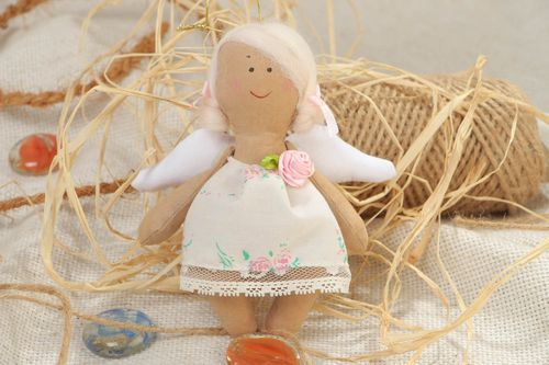 Handmade designer soft doll sewn of cotton in the shape of angel in white dress - MADEheart.com