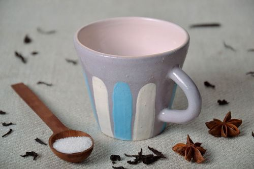 Cup with a white and blue strip - MADEheart.com