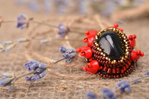 Designer brooch beads brooch stone brooch unusual gift present for girl - MADEheart.com