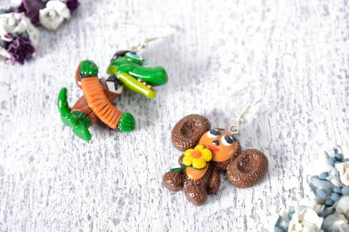 Earrings Crocodile Gena and Cheburashka - MADEheart.com