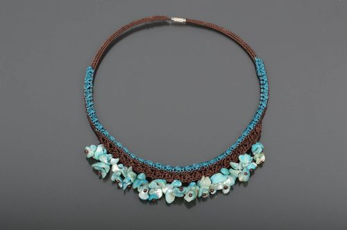 Stylish handmade crochet necklace gemstone beaded necklace gifts for her - MADEheart.com