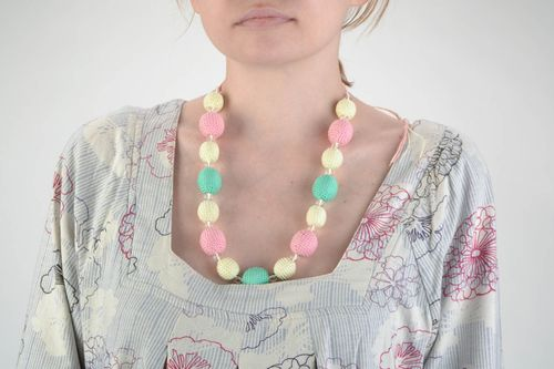 Gentle unusual handmade colorful crochet ball necklace with ties - MADEheart.com