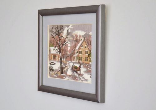 Cross stitched picture Winter landscape - MADEheart.com