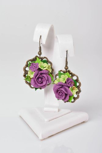 Handmade summer earrings porcelain earrings vintage bijouterie fashion jewelry - MADEheart.com