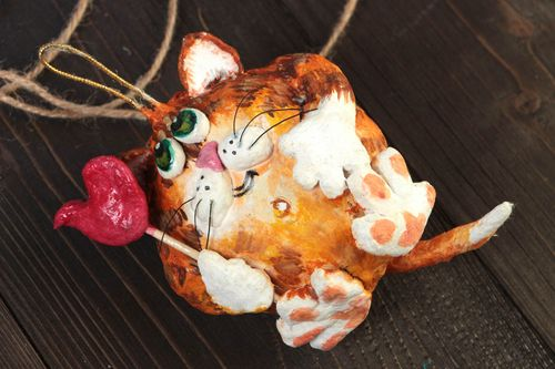 Handmade interior painted paper mache wall hanging in the shape of ginger cat - MADEheart.com