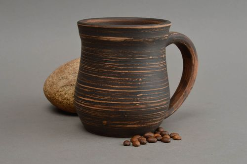 Unusual homemade ceramic cup clay tea cup beer mug ideas 500 ml gift ideas - MADEheart.com