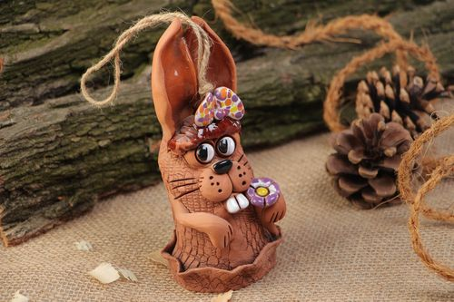 Homemade decorative painted hanging bell in the shape of rabbit with eyelet - MADEheart.com