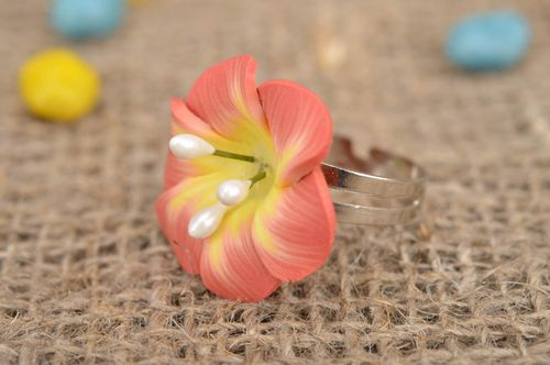 Beautiful large handmade plastic flower ring of gentle peach color - MADEheart.com