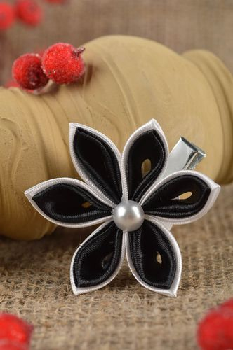 Stylish handmade textile barrette hair clip for kids flowers in hair gift ideas - MADEheart.com