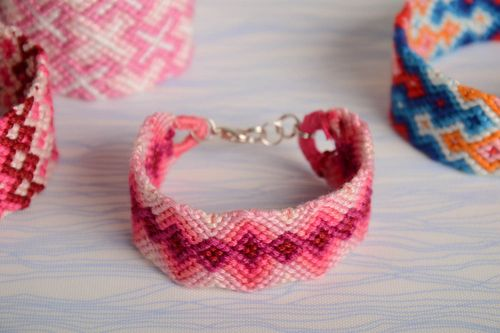 Beautiful womens handmade wide woven embroidery floss bracelet - MADEheart.com