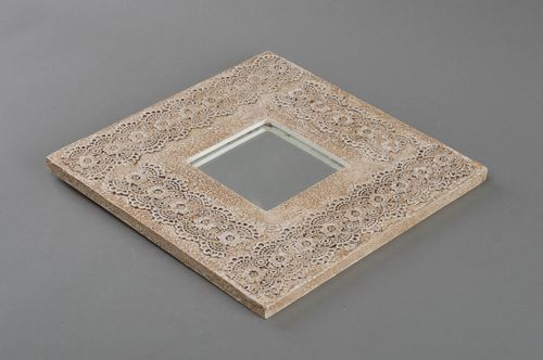 Beautiful handmade interior wall mirror in wooden frame square Sicilian lace - MADEheart.com