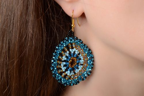 Beautiful handmade designer round blue beaded earrings with hook type ear wires - MADEheart.com