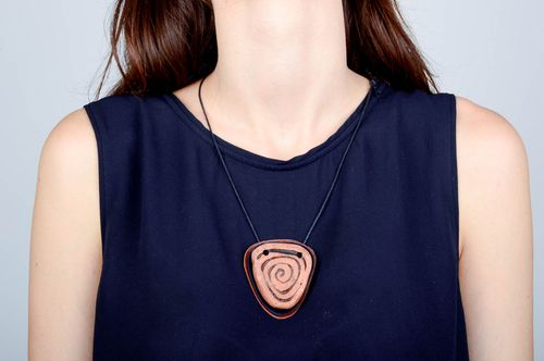 Leather accessory handmade ethno style pendant women designers present - MADEheart.com