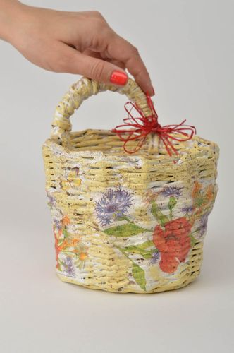 Handmade decorative basket designs woven paper basket interior decorating - MADEheart.com