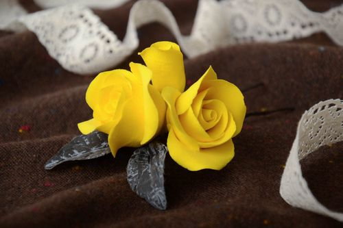 Handmade decorative metal hair pin with bright yellow self hardening clay flowers - MADEheart.com