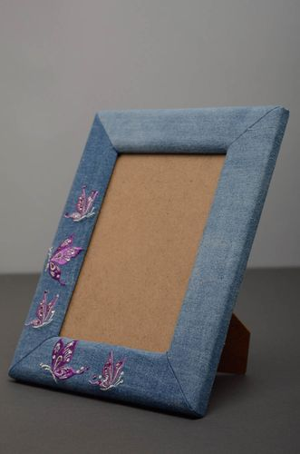Unusual denim photo frame - MADEheart.com