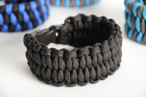 Dark handmade stylish bracelet braided of parachute cord for survival  - MADEheart.com