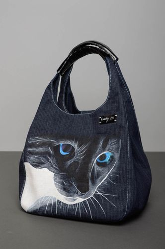 Denim bag with painting - MADEheart.com