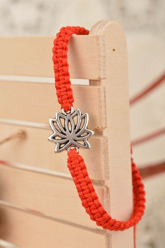 Beautiful handmade red woven silk thread bracelet with metal insert Lotus - MADEheart.com