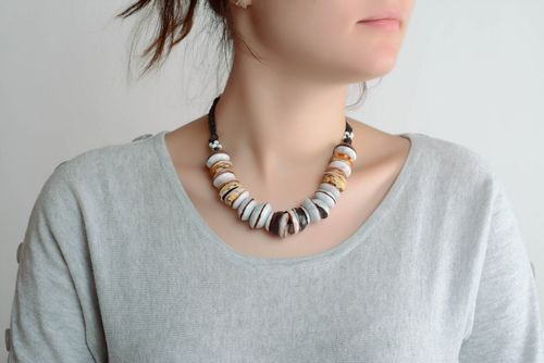 Clay beaded necklace - MADEheart.com