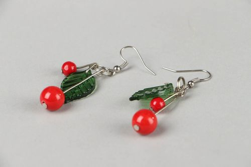 Earrings with natural stone Cherry - MADEheart.com