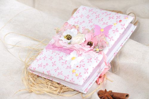 Handmade light scrapbooking designer notebook with fabric cover - MADEheart.com