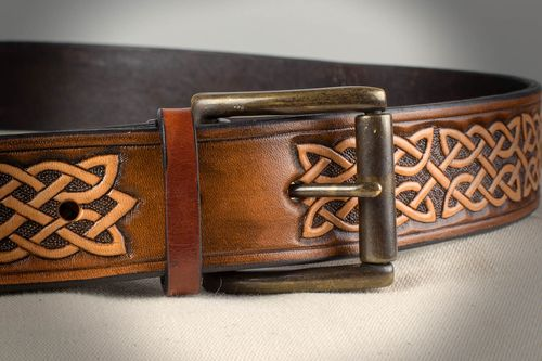 Handmade light genuine leather mens belt with metal buckle mens accessories - MADEheart.com