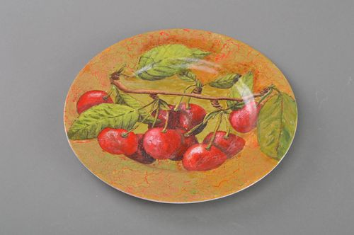 Handmade designer decoupage glass wall hanging plate for home decor Cherry - MADEheart.com
