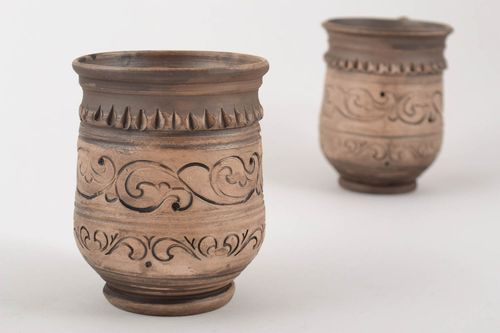 Handmade small brown ceramic ornamented cup in ethnic style for 250 ml - MADEheart.com