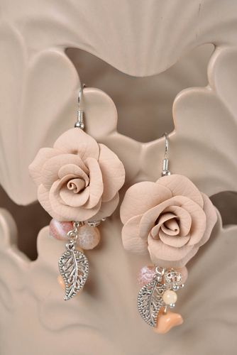 Handmade designer tender polymer clay rose flower earrings with metal charms - MADEheart.com