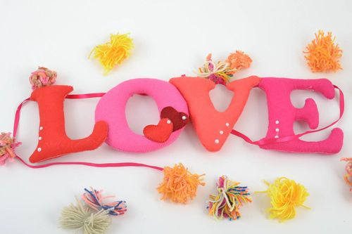 Unusual beautiful homemade felt fabric soft lettering Love  - MADEheart.com