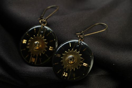 Unusual metal earrings in steampunk style Time - MADEheart.com