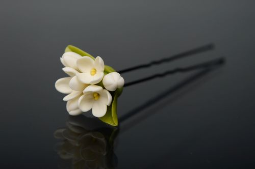 Cold porcelain hairpin with flower - MADEheart.com