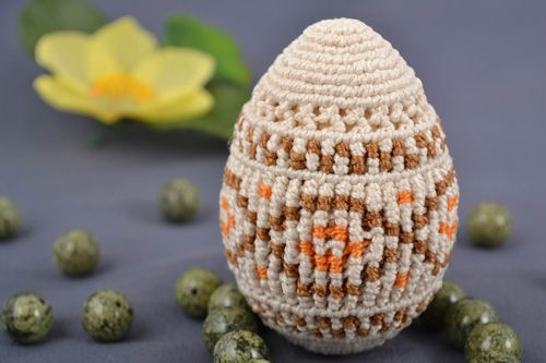 Handmade decorative macrame woven Easter egg on wooden basis beige with ornament - MADEheart.com