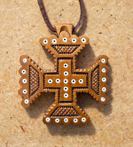 Wooden pectoral cross inlaid with beads - MADEheart.com