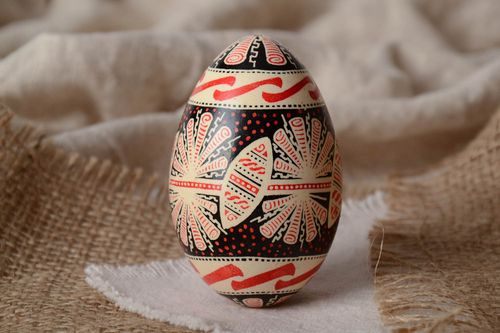 Handmade traditional painted goose egg with rich ornament Easter decoration - MADEheart.com