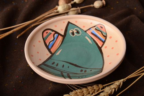 Peach colored handmade designer clay plate painted with glaze and enamel 300 ml - MADEheart.com