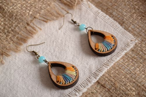 Handmade plywood earrings with colored thread embroidery in the form of droplets - MADEheart.com