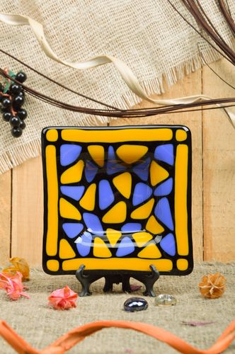 Handmade fused glass decorative square ashtray in yellow and blue colors  - MADEheart.com